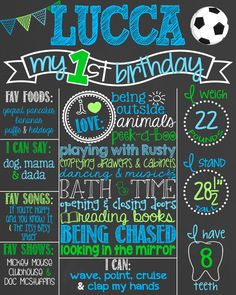 Soccer Blue and Green First Birthday Chalkboard Poster // Boy Birthday Chalkboard Printable // Soccer Ball // Sports Chalk Poster by PersonalizedChalk on Etsy https://www.etsy.com/listing/239698233/soccer-blue-and-green-first-birthday