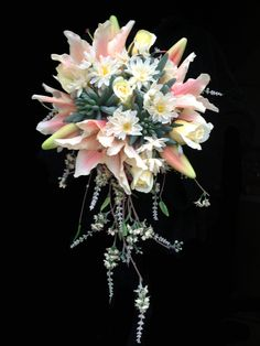 Stunning Cascading Bride's Bouquet - Pale Pink Tiger Lilies, Peach Hydrangeas, Soft Yellow Roses with Green Succulents