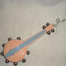 Vintage Baby--Celluloid Banjo Baby Rattle 1950's