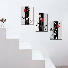Espritte Art-Huge Black and White Abstract Red Flowers Picture Painting on Canvas Print without Framed, Modern Home Decorations Wall Art set of 3 Each is Multi Canvas Painting, Canvas Wall Art, Canvas Frame, Red Flower Pictures, Wall Painting Decor, Spray Painting, Wall Art Pictures, Wall Art Sets, Acrylic Art