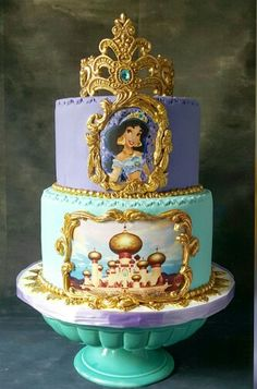 with ・・・ Princess Jasmine Check out this amazing Princess Jasmine cake by Her work is amazing. Torta Princess, Princess Jasmine Cake, Girly Cakes, Cute Cakes, Beautiful Cakes, Amazing Cakes, Aladdin Cake, Aladdin Party, Jasmin Party