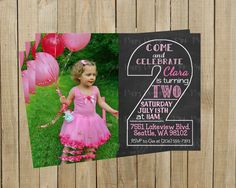 Vintage Chalkboard Two Second Birthday Invitation Pink Girl Printable Custom Digital File