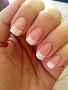Classy with a hint of sparkle, these French Tips with Bachelorette TruShine Gel are the perfect wedding day manicure!