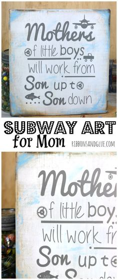 DIY Mother of Little Boys Sign made from a painted and distressed wood board with personalized Subway Art made with Silhouette and vinyl lettering. Awesome Sign for any Boy Mama!