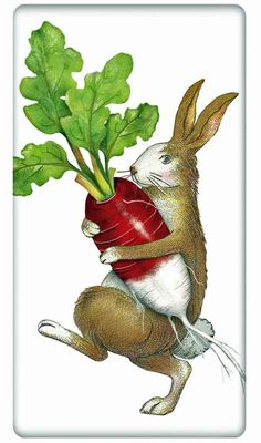 Rabbit with a Radish 100% Cotton Flour Sack Dish Towel Tea Towel