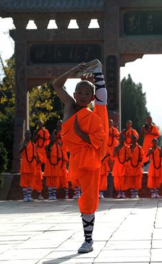 A member of the Kung Fu Monks of Shaolin - Photograph: Donald Chan/Reuters