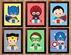 PRINTED 6 Prints Superhero Nursery Superhero by GraphicsByColton