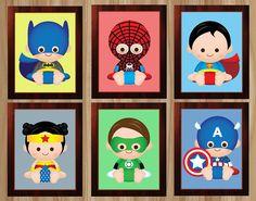 PRINTED 6 Prints Superhero Nursery Superhero by GraphicsByColton