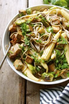 Baked Tofu & Brussels Sprout Soba With A Miso Lime Dressing | In Pursuit of More