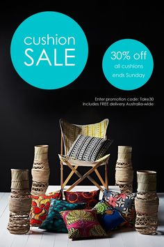 Cushion SALE! 30% off all cushions & pillows with FREE delivery Australia-wide. Ends Sunday, 20 Sep 2015. Shop online www.safarifusion.com.au
