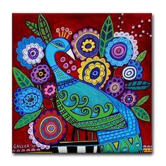 Ceramic Tile Coasters - Peacock Tile - Folk Art Bird Art - Red Pink Purple Flowers. $20.00, via Etsy.