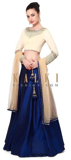 Buy Online from the link below. We ship worldwide (Free Shipping over US$100). Product SKU - 304173. Product Price - $539.00. Product link - http://www.kalkifashion.com/navy-blue-and-cream-lehenga-adorn-in-pearl-and-stone-embroidery-only-on-kalki.html