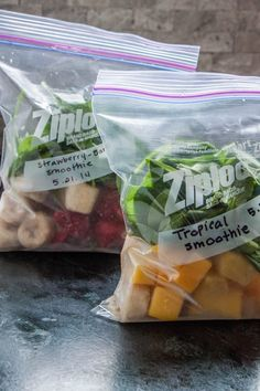Freeze Smoothie Ingredients in Individual Servings! Need some containers specifically for this to avoid plastic waste.