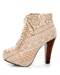 WANT!!!!!!!!! Qupid Puffin 39 ivory fabric lacy lace-up booties...$51.00......www.lulus.com