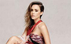 Download wallpapers Jessica Alba, American actress, luxury dress, evening make-up, beautiful woman