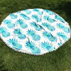 SHARE & Get it FREE   Cool Summer Pineapple Pattern Small Pompon Tassel Yoga Mat Gypsy Cotton Tablecloth Round Beach ThrowFor Fashion Lovers only:80,000+ Items·FREE SHIPPING Join Dresslily: Get YOUR $50 NOW!