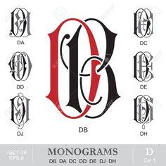 Vintage Monogramas DB DA DC DD DE DJ DH Ilustraciones Vectoriales, Clip Art Vectorizado Libre De Derechos. Image 24257597. Initial Fonts, Monogram Letters, Monogram Initials, Calligraphy Fonts Alphabet, Alpha Art, Fancy Letters, Embroidery Monogram, Wedding Logos, Vintage Monogram