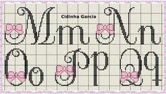 Needlepoint Stitches, Crochet Stitches, Crochet Letters, Cross Stitch Alphabet Patterns, Cross Stitch Baby, Stitch 2, Le Point, Letters And Numbers, Cross Stitching