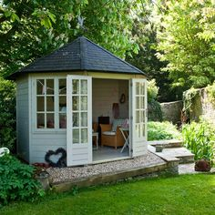 Summer house ideas – Garden shed – Summer house for garden - There are some sleepers and stones in the new garden that I'd like to remove (in order to put to - Summer House Garden, Garden Cottage, Dream Garden, Home And Garden, Summer Houses Uk, Small Summer House, Summer House Decor, Summer Sheds, Corner Summer House