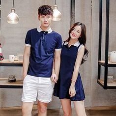 Buy Azure Couple Matching Contrast Trim Short Sleeve Polo T-Shirt / Sleeveless Shirt Dress at YesStyle.com! Quality products at remarkable prices. FREE WORLDWIDE SHIPPING on orders over US$35.