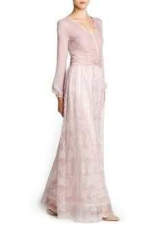Long flowy dress with lace panels, wrap v-neck, pleated detail on the waist and buttoned long sleeves. Hijab Dress, Dress Outfits, Fashion Outfits, Womens Fashion, Kebaya Lace, Mango Clothing, Frack, Wedding Prep, Party Gowns