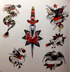 Where can I buy stuff like this? Man this is stunning! Traditional Flash, American Traditional, Tattoo Traditional, Tattoo Flash Art, Tattoo Art, Old School Sleeve, Germany Tattoo, Knife Tattoo, Sick Tattoo