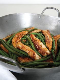 Chicken and Green Bean Stir-Fry - up the green beans and add mushrooms