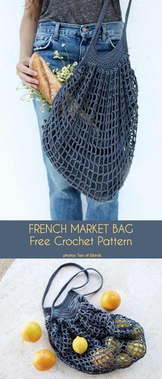 # crochet DIY french market bag Source by Crochet Diy, Free Crochet Bag, Crochet Market Bag, Crochet Bags, Crochet Ideas, Crochet Hooks, Crochet Beret, Bag Patterns To Sew, Knitting Patterns