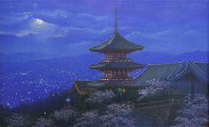 'Lights of Kyoto' lithograph by Nori SHIMIZU