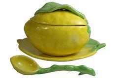 Vintage Italy Soup Tureen | Italian Lemon Tureen & Ladle