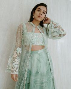 Indian Fashion Dresses, Indian Designer Outfits, Indian Outfits, Designer Dresses, Indian Attire, Dress Suits, I Dress, Mint Green Skirts, Lehenga Designs