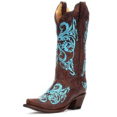 d8ff9957898 Womens Corral Brown and Turquoise Dahli Boot