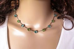 HARBOR LIGHTS, swarovski necklace,8mm, blue and green, designer inspired, ant silver,  dksjewelrydesigns