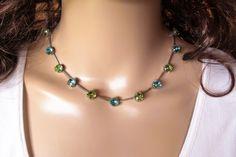 HARBOR LIGHTS, swarovski necklace,8mm, blue and green, designer inspired, ant silver,  dksjewelrydesigns