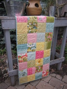 Bright Flower Squares Quilted Tablerunner by thePATchworksshop