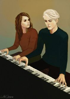 "littlechmura: ""Dramione commissioned by @lewandallons-y ! Dedicated to all fanfic writes who feature playing piano in their stories. What song do you think they are playing? My personal pick would be..."