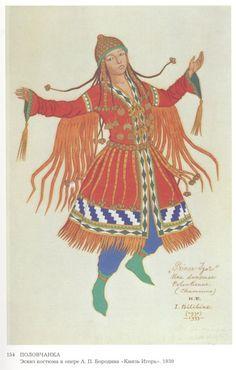 "Costume design for the Opera ""Prince Igor"" by Alexander Borodin - Ivan Bilibin (1930)"