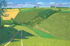 David Hockney<br> Steep Valley Kirkby Underdale, 2006<br>       oil on 2 canvases<br>       Overall: 48 x 72 in. (121.9 x 182.9 cm)<br>       Framed: 49 x 73 in. (124.5 x 185.4 cm)<br>       Private collection