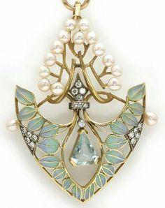 An art nouveau aquamarine, diamond, cultured pearl and plique-à-jour enamel pendant