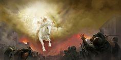 Jesus num cavalo branco seguido por um exército celestial
