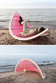 chaise-longue et but de foot Panama Banana Hammock-Agota Rimsaite #furniture #interior