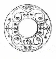 Drawing of Loughnashade Trumpet; detail of the La Tene design on the ring at the bell of the Trumpet.