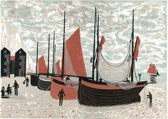 Melvyn Evans, Boats on the Beach at Hastings, Linocut Print Modern Art, Contemporary Art, Evans Art, Linoprint, Royal College Of Art, Naive Art, Linocut Prints, Art Prints, Fishing Boats