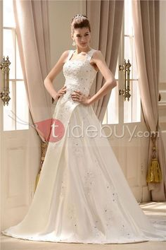 Attractive A-Line Square Capped-Sleeve Chapel Appliques Bridal Gown : Tidebuy.com