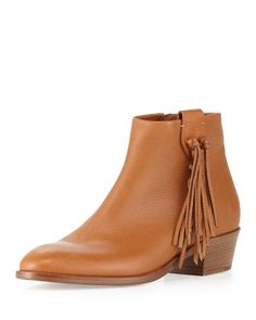 Side-Fringe Leather Ankle Boot by Valentino at Bergdorf Goodman.