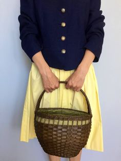 Vintage Baskets, Market Baskets, Basket Bag, Vegan, Green Fabric, Wicker Baskets, Straw Bag, Purses, Alter