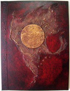 Handmade Journal Refillable Red Black Copper Moon 12x9 Original
