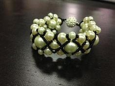 Woven glass pearl bracelet with magnet by ZoilaBelleCreations, $40.00