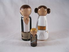 Princess Leia Han Solo and Young Luke Wood Doll Cake Toppers