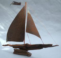 Driftwood Crafts, Sail Boats, Woodland Garden, Drift Wood, Tall Ships, Vintage Metal, Sailing Ships, Art Decor, Sculpture